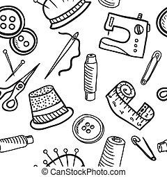 muster, nähen, -, seamless, abbildung, hand, gezeichnet
