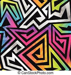 muster, regenbogen, labyrinth, seamless