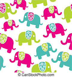 muster, retro, seamless, elefant