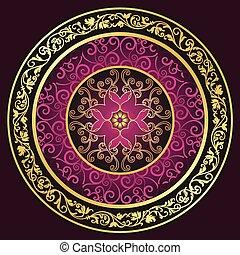 muster, runder , gold-purple-vintage
