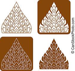 muster, säumen art, thailändisch, illustration.