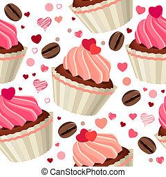 muster, schokoladen, seamless, rotes , herzen