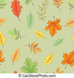 muster, seamless, abbildung, leaves., herbst, vektor