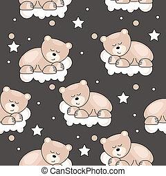 muster, seamless, bär, eingeschlafen, klein, wolke