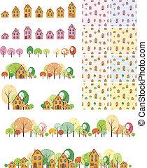 muster, seamless, bäume, häusser