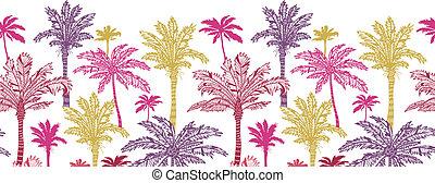 muster, seamless, bäume, handfläche, hintergrund, horizontal, umrandungen