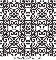 muster, seamless, elegant, vektor, schwarz, weißes