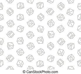 muster, seamless, hintergrund., vektor, würfelt, gluecksspiel, weißes