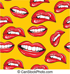 muster, seamless, lippen