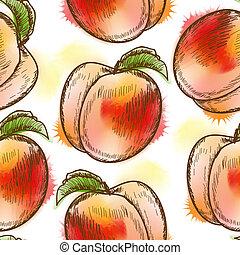muster, seamless, pfirsich