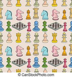 muster, seamless, schach, karikatur