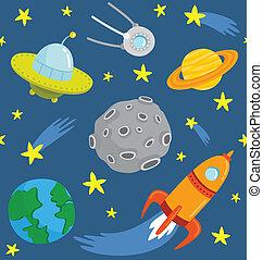 muster, seamless, space., karikatur