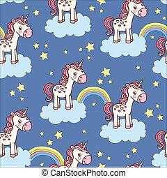 muster, seamless, unicorn., reizend