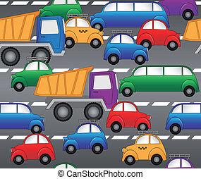 muster, seamless, vektor, highway., autos