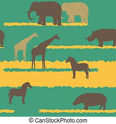 muster, tiere, seamless, afrikanisch