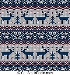 muster, vector., deers., gestrickt, skandinavisch