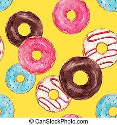 muster, vektor, aquarell, donuts, schmackhaft