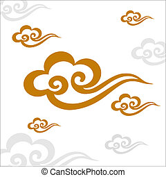 muster, vektor, chinesisches , wolke