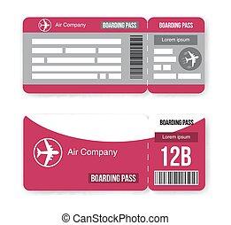muster, von, fluggesellschaft, bordkarte, fahrschein, freigestellt, weiß, hintergrund., vektor, abbildung