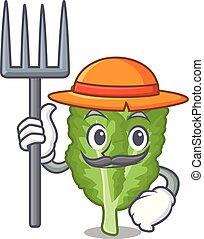 mustrad, mascotte, contadino, verde, islated