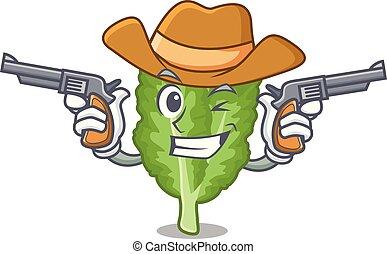 mustrad, mascotte, cowboy, verde, islated