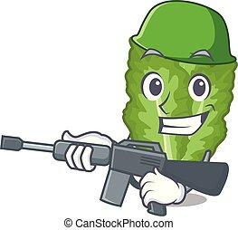 mustrad, mascotte, esercito, verde, islated