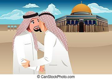 musulmán, cada, hombres, dos, otro, se abrazar