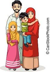 musulmán, carácter, caricatura, familia