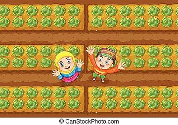 musulmán, dos, niños, jardín vegetal