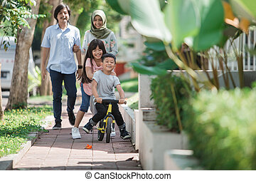musulmán, encantador, moderno, familia , feliz