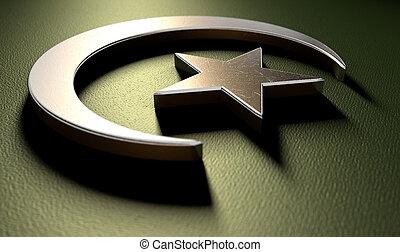 musulmán, estrella, luna medialuna