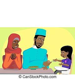 musulmán, familia , bocado, tiempo