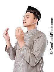 musulmán, hombre, hacer, oración