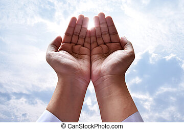 musulmán, hombre, rezando