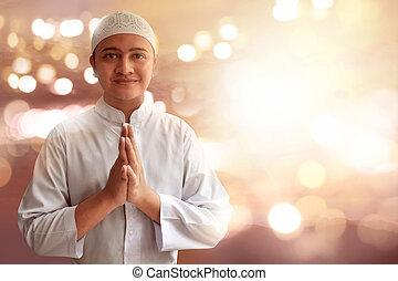 musulmán, hombre, sonriente