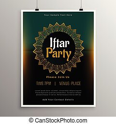 musulmán, iftar, plantilla, invitación, fiesta, celebración