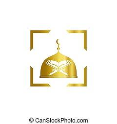 musulmán, ilustración, icono, vector, diseño, mezquita