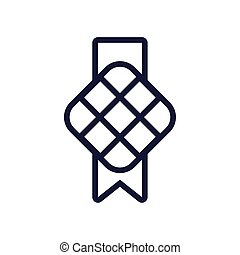 musulmán, línea, cuadrado, icono, estilo, decoración