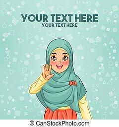 musulmán, mujer, ondulación, con, ella, palma