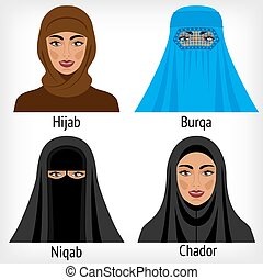 musulmán, mujeres, en, tradicional, headwear