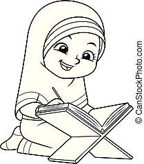 musulmán, niña, quran, bw, lectura