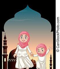 musulmán, niñas, manos de valor en cartera