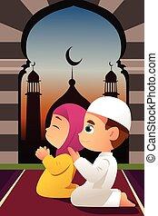 musulmán, niños, rezando, en, mezquita