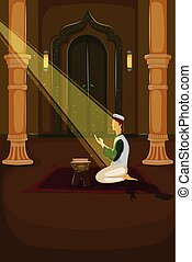 musulmán, ofrecimiento, namaaz, eid