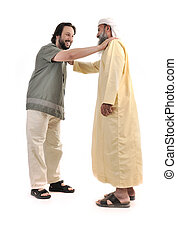 musulmán, persona, manos, hombre de negocios, árabe,...