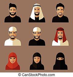 musulmán, plano, avatars