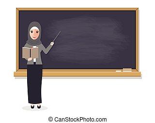 musulmán, profesor, enseñanza, estudiante, en, aula
