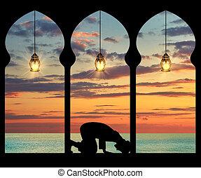 musulmán, rezando, silueta