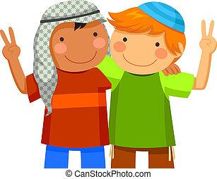 musulmán, y, judío, niños