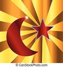 musulman, étoile, croissant de lune